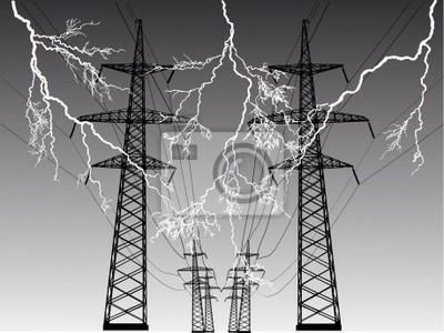línea eléctrica en tormenta