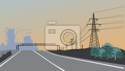 línea eléctrica y la construcción de la puesta del sol