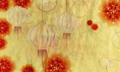 Cuadro Linterna de papel con flores