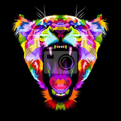 Cuadro Liones coloridos enojados en estilo pop art