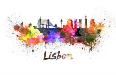 Cuadro Lisboa en el horizonte de la acuarela
