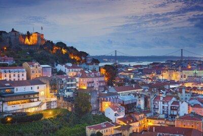 Cuadro Lisboa. Imagen de Lisboa, Portugal durante la hora azul del crepúsculo.