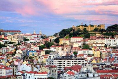 Cuadro Lisboa, Portugal, vista al barrio de Alfama y San Jorge Castl