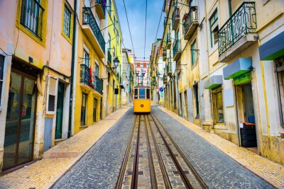 Cuadro Lisbon, Portugal Old Town Cityscape and Tram
