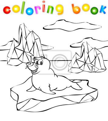 Lobo Marino En El Libro Para Colorear De Iceberg Pinturas