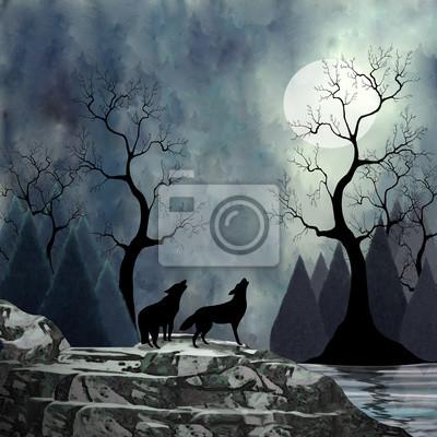 Lobos Aullando A La Luna Pinturas Para La Pared Cuadros Pino Luz