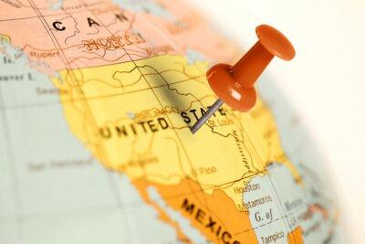 Cuadro Localización Estados Unidos. Contacto rojo en el mapa.
