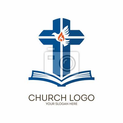 Logo De La Iglesia Símbolos Cristianos Biblia Cruz Y Espíritu
