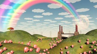 Cuadro Los cerdos se mueven como lemmings hacia la fábrica