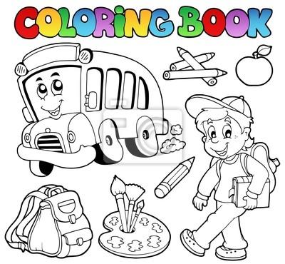 Cuadro Los Dibujos Animados De La Escuela Libro Para Colorear 2