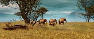 Cuadro Los elefantes africanos, CG 3D
