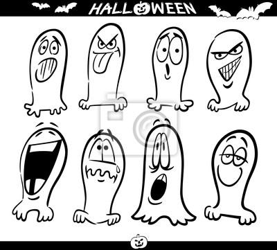 Los Fantasmas De Halloween Para Colorear Emoticones Pinturas Para La