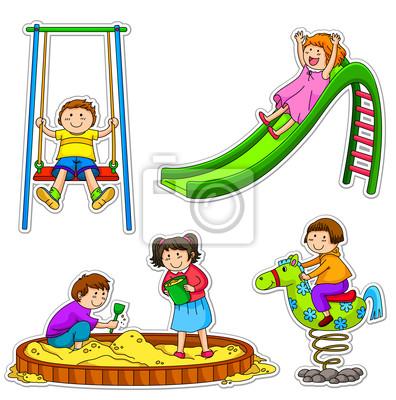 Los niños jugando en el parque infantil pinturas para la pared ...