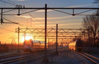 Cuadro Los trenes salen de la estación durante un amanecer de invierno.