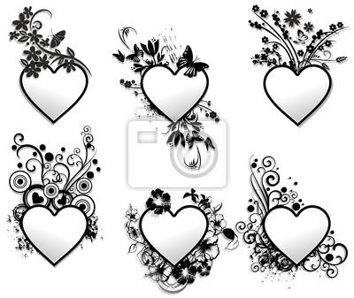 Love hearts ornamental frames set-cuore cornisa art deco pinturas ...