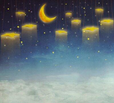 Cuadro Luna y estrellas en la cuerda en el cielo nocturno