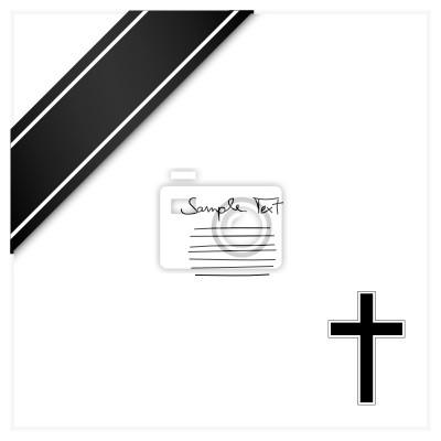 Luto tarjeta cruz y cinta negro pinturas para la pared • cuadros ...