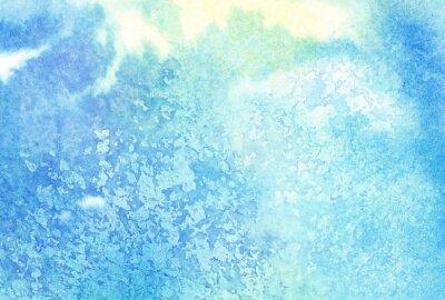 Cuadro Luz azul abstracto pintado acuarela salpicaduras o nubes, cielo
