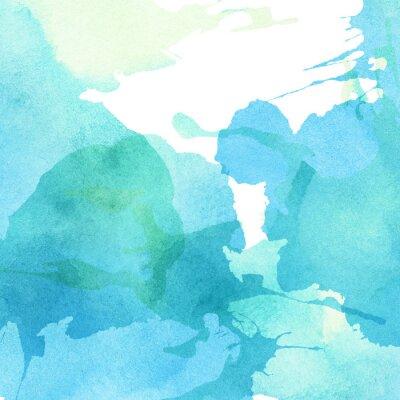 Cuadro Luz azul abstracto, verde pintado acuarela salpicaduras de fondo
