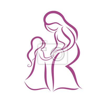 Madre E Hija Símbolo Del Vector Pinturas Para La Pared Cuadros