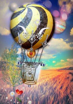 Cuadro Maíz fied y árbol con globo de aire caliente de steampunk