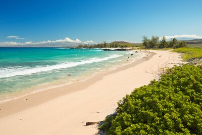 Makalawena Beach in Hawaii, USA with white sand and turquoise water