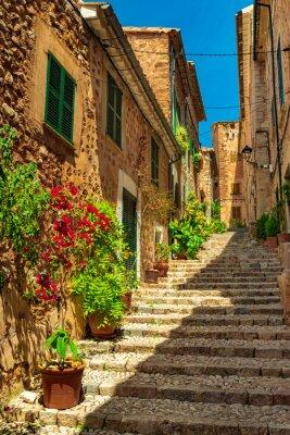 Malerische Blumen Straße im alten mediterranen Dorf Fornalutx, Mallorca España