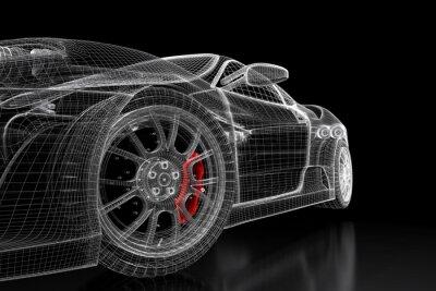 Cuadro Malla de coche 3D en un negro