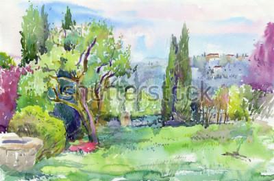 Cuadro Mañana en el jardín italiano. Acuarela