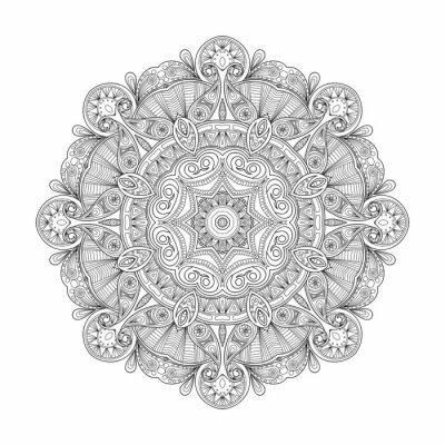 Cuadro Mandala étnica circular abstracta blanco y negro del modelo.