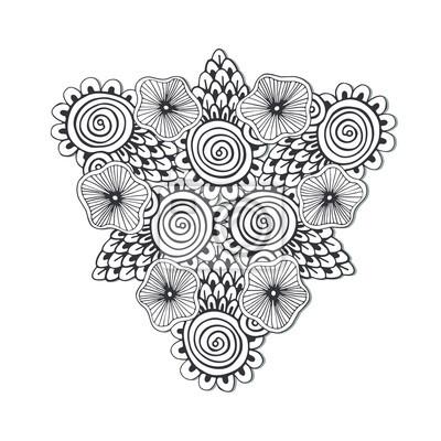 Mandala Unica Del Triangulo Con Las Flores Arte Dibujado A Mano