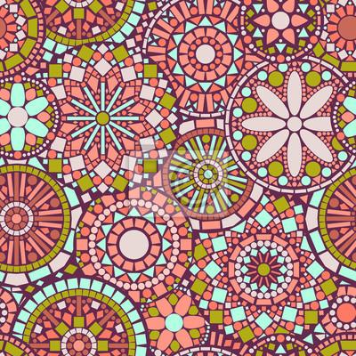 Mandalas Circulo De Flores De Colores Sin Patron En El Rosa - Pinturas-de-mandalas