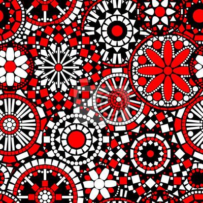 Mandalas De Flores Circulo Patron Transparente En Negro Rojo - Pinturas-de-mandalas
