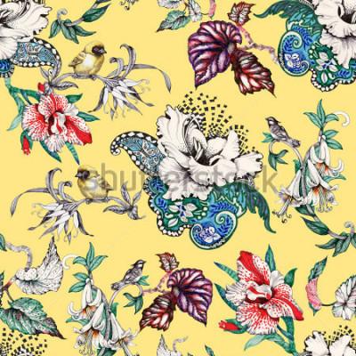 Cuadro Mano acuarela dibujada patrón transparente con flores tropicales de verano y aves exóticas sobre fondo amarillo
