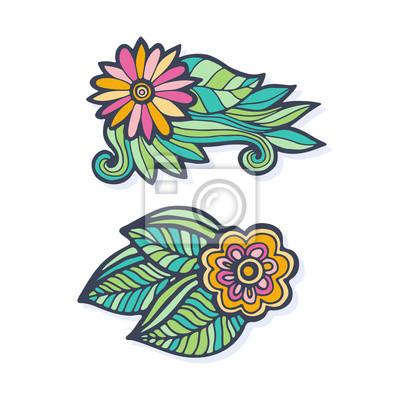 Mano de vector creativo dibujado flores. vector conjunto doodle ...