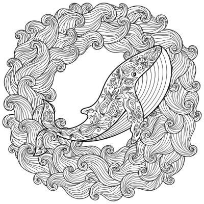 Cuadro Mano dibujada ballena en las olas para antistress Página para colorear