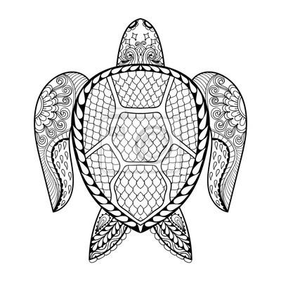 Mano dibujada tortuga de mar para adultos para colorear en doodle ...