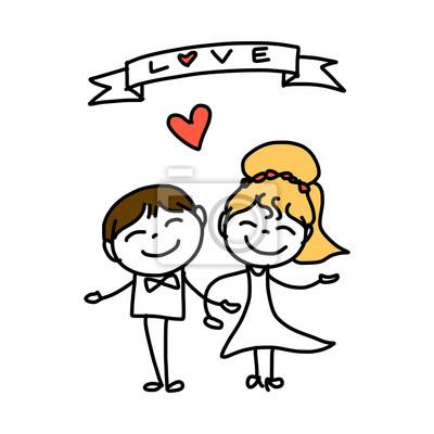 Mano Dibujo Dibujos Animados Amor Abstracto Pinturas Para La Pared