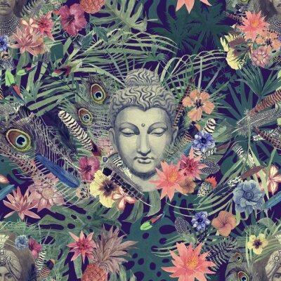 Cuadro Mano transparente dibujado patrón de acuarela con cabeza de Buda, maharajá, flores, plumas, palmeras.