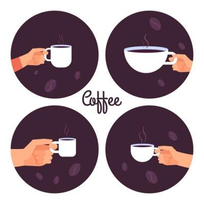 Cuadro Manos sosteniendo tazas de café conjunto de iconos vectoriales aislado sobre fondo blanco ilustración