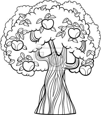 Manzana de dibujos animados árbol de dibujos pinturas para la pared ...