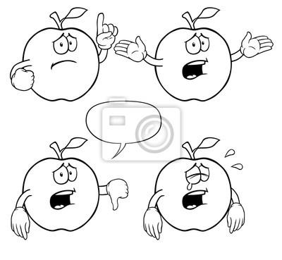 Manzanas llorando en blanco y negro con diferentes gestos. pinturas ...