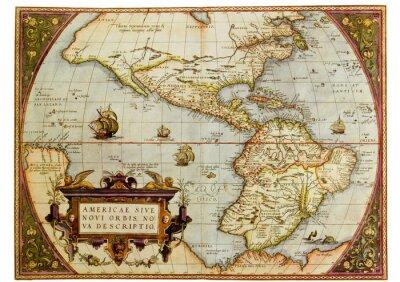 Cuadro Mapa antiguo de las Américas. Foto de la reproducción antigua