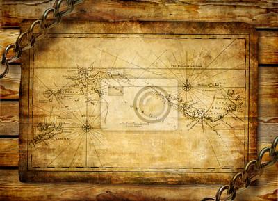 mapa antiguo sobre fondo de madera