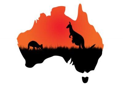 Cuadro Mapa australiano con kangaaroo