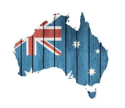 Cuadro Mapa de Australia con la bandera de madera