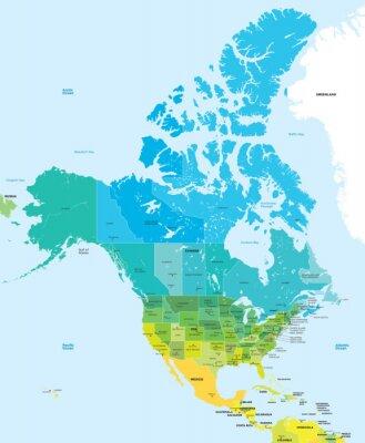 Cuadro Mapa de colores de los EE.UU. y Canadá
