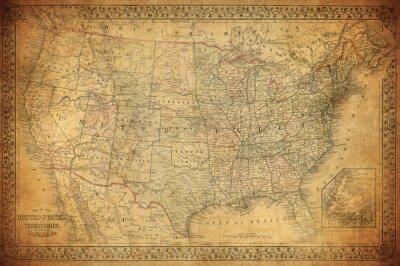 Cuadro Mapa de cosecha de Estados Unidos 1867