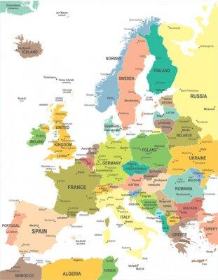 Cuadro Mapa de Europa - altamente detallada ilustración vectorial.