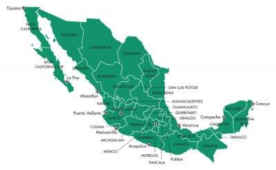 Cuadro Mapa de México con los estados y ciudades